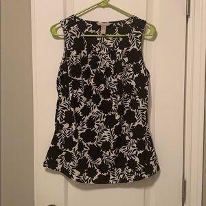 Black printed flower blouse
